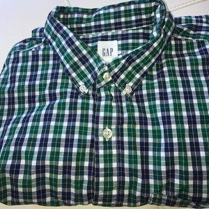 GAP MEN'S GREEN PLAID BUTTON DOWN DRESS SHIRT